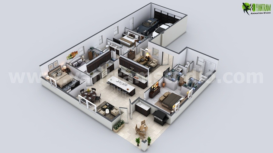 Beautiful Modern 3D House Floor Plan   USA