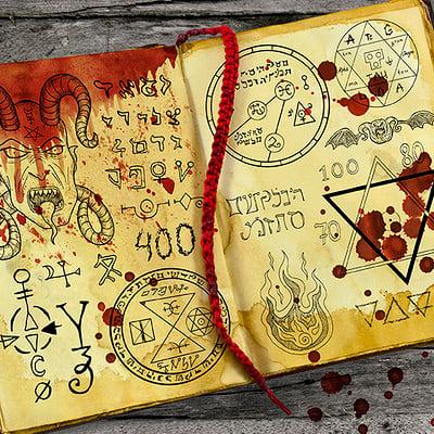 Vera petruk samiramay 2 black magic book with mystic symbols and bloody drops