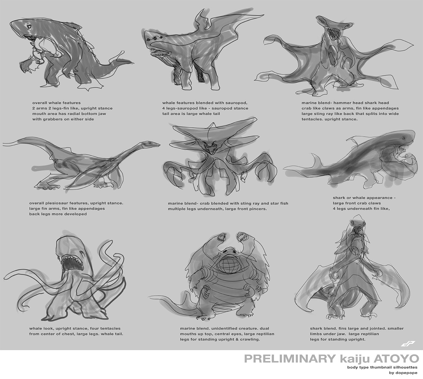 Preliminary silhouettes quickly sketched to capture an impression of a kaiju 'type' we'd want to develop. Ultimately we decided on the head of the center sketch, with the mouth of the first sketch, and the large claws of the last sketch.