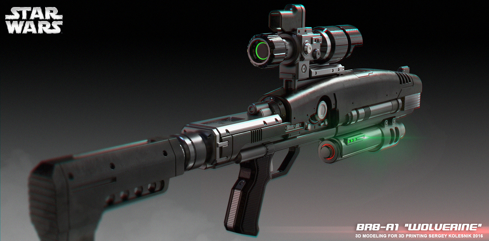 ArtStation - BR8-A1 Wolverine Blaster Rifle 3D print model, Sergey