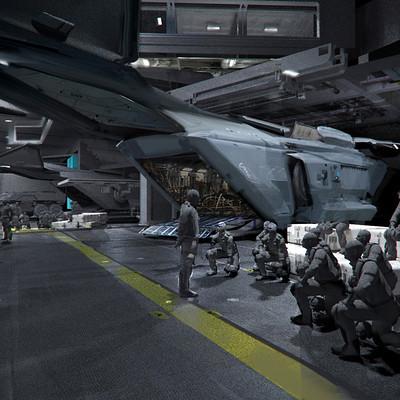 Mike hill dropship in hangar sketch 2500