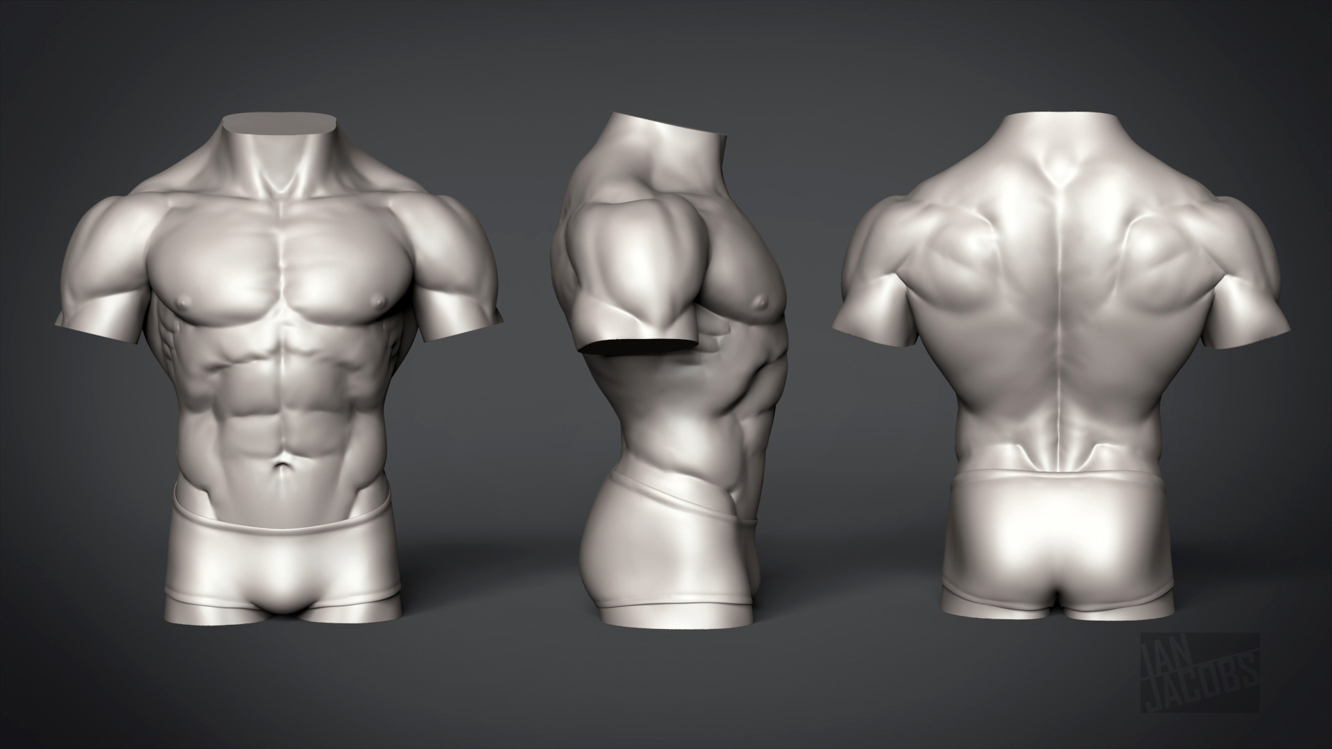 ArtStation - Male Torso - Anatomy Study, Ian Jacobs