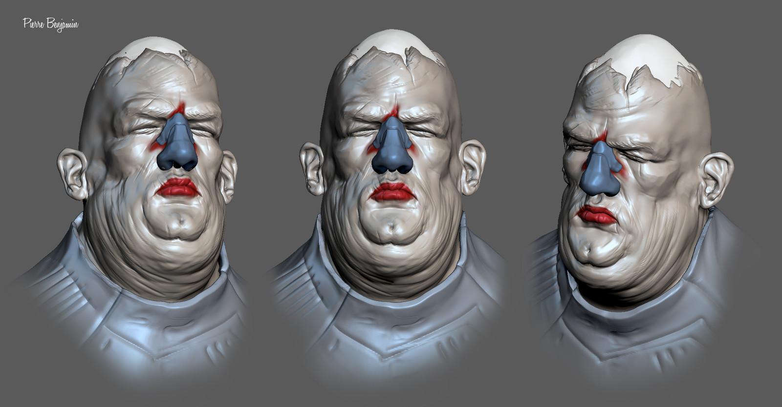 3D sculpt  based upon a Enki Bilal 2D concept character