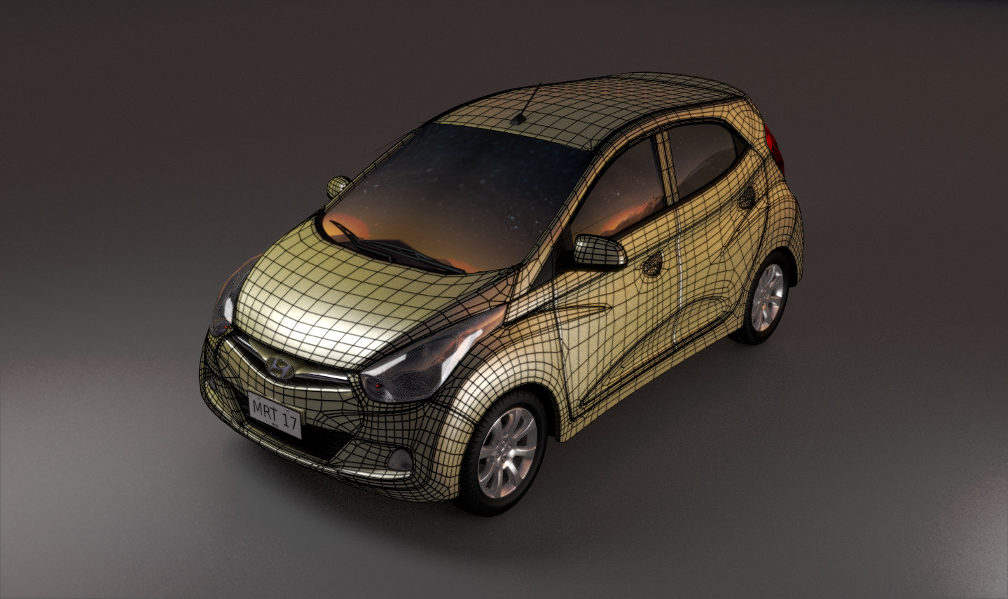 Here is the wireframe render of the front end of the model.