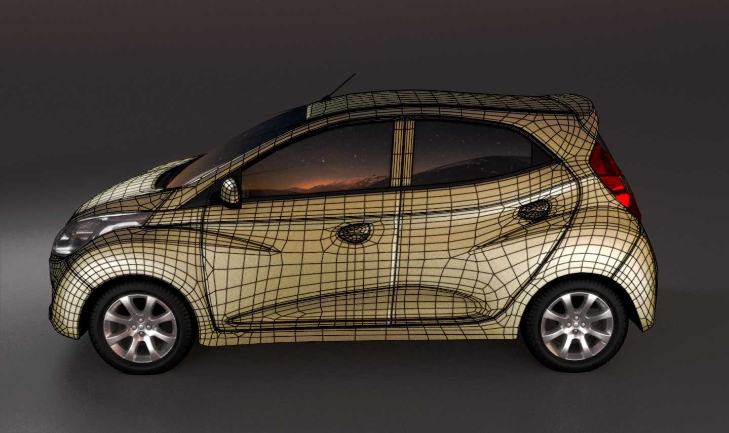 The wireframe render of the side view.