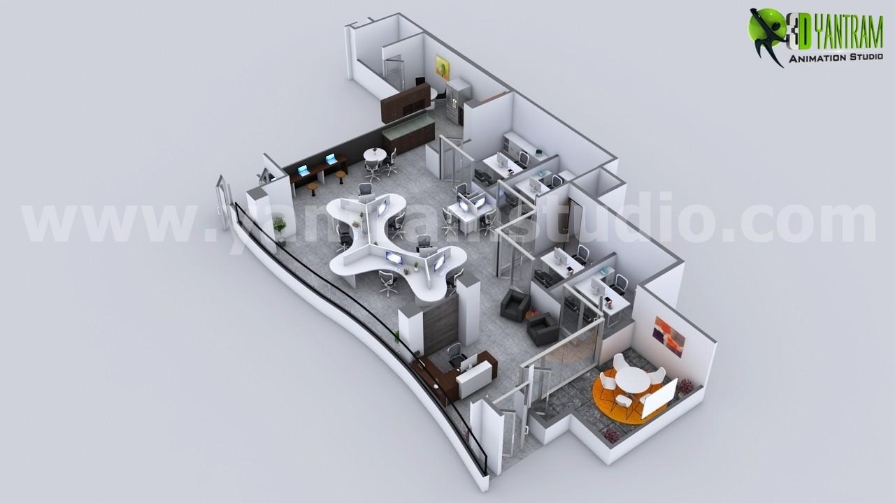 Yantram Studio Creative Modern 3D Office Floor Plan Rendering