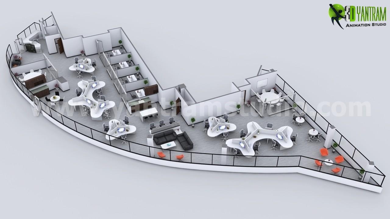 Imaginative Modern 3D Office Floor Plan   USA