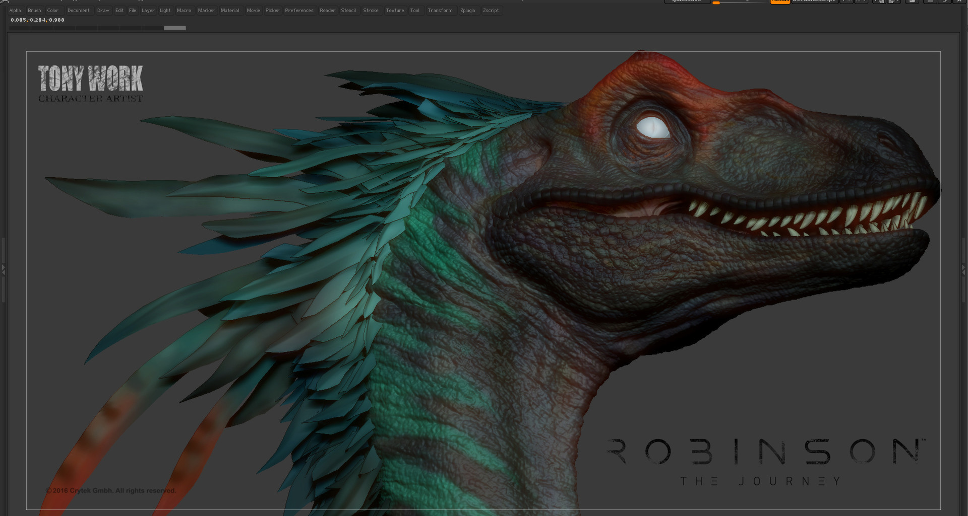 Tony Work Raptor Zbrush Base Color And Feather Prototype