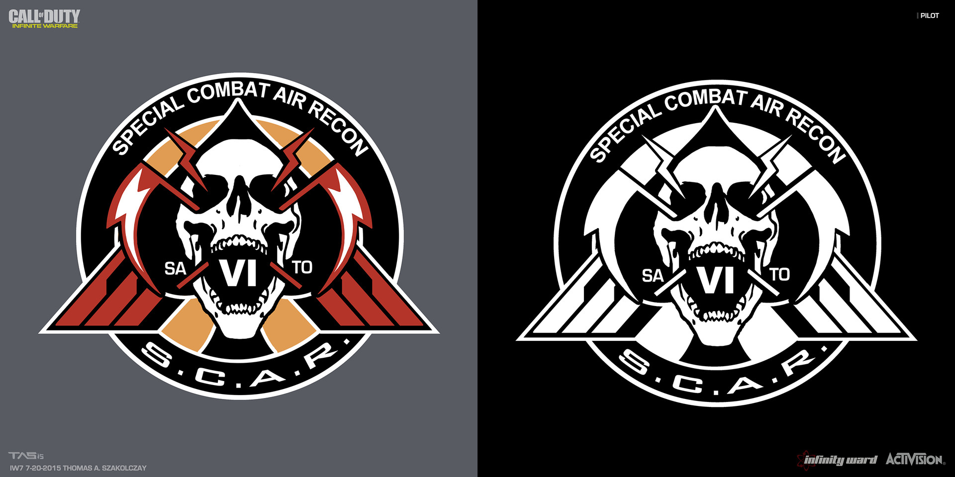 SCAR Unit Patch Design:  I was going for something aggressive to represent how badass these pilot / spec ops soldiers are. The screaming skull with 2 lighting scythes forming a spade does that well i think.