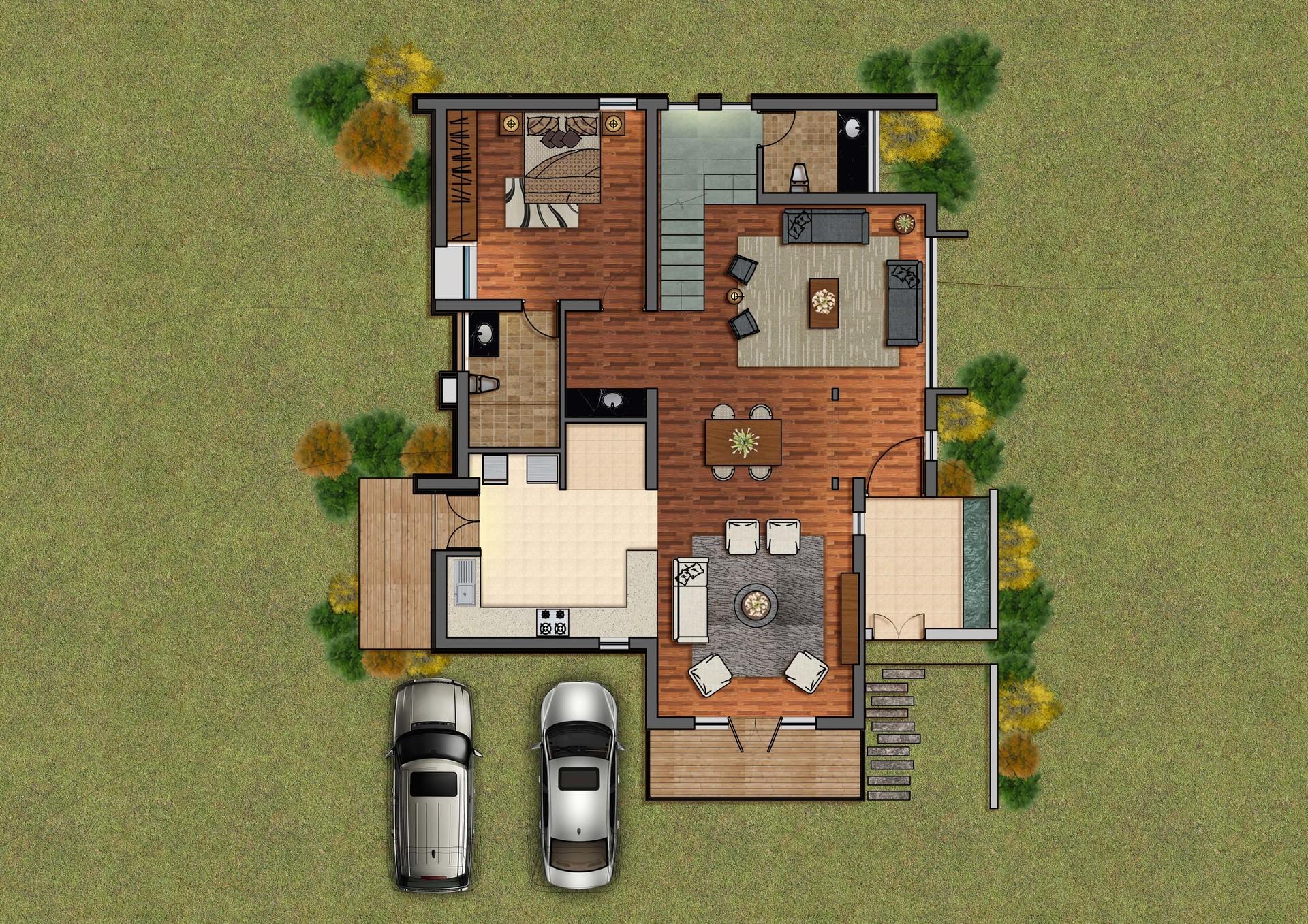 Aishwarya Binani - Architecture plan render in Photoshop