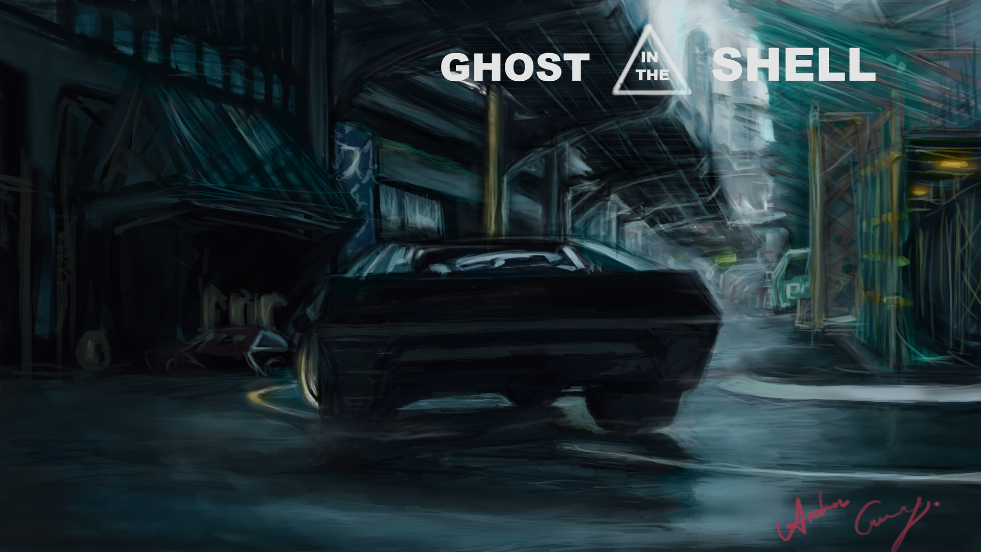 Artstation Ghost In The Shell Illustration Process Batou S