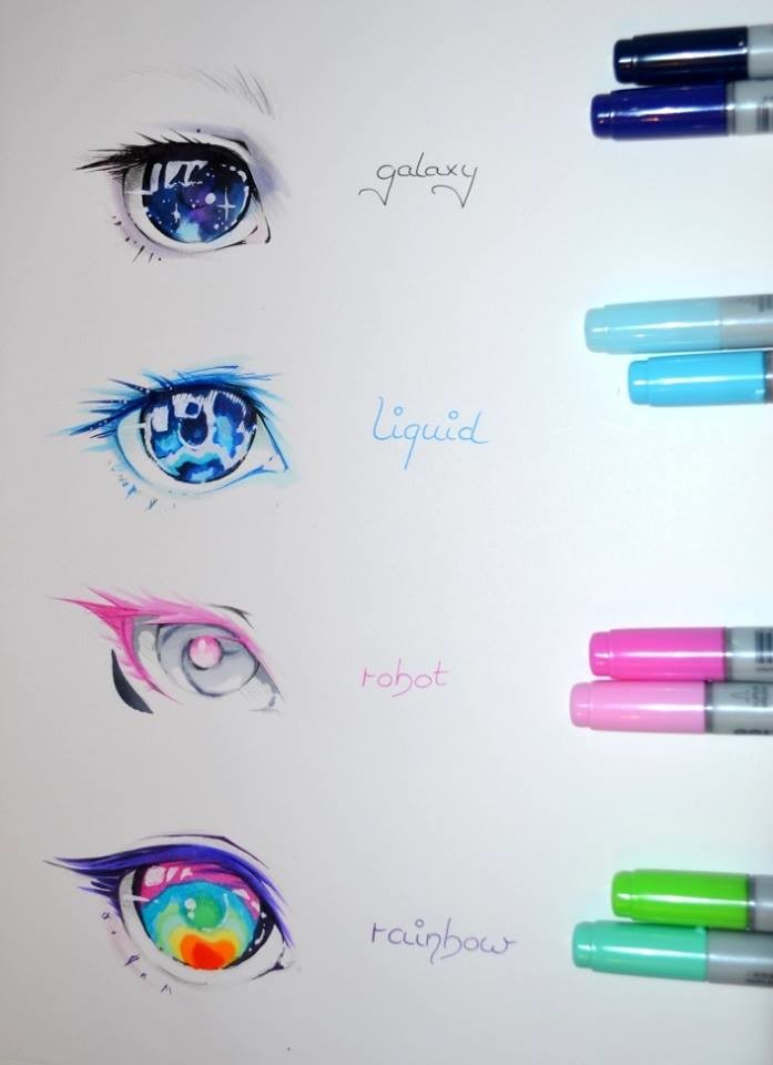 Lighane 39 s artblog anime eyes lighane copic marker for Cool things to draw with markers