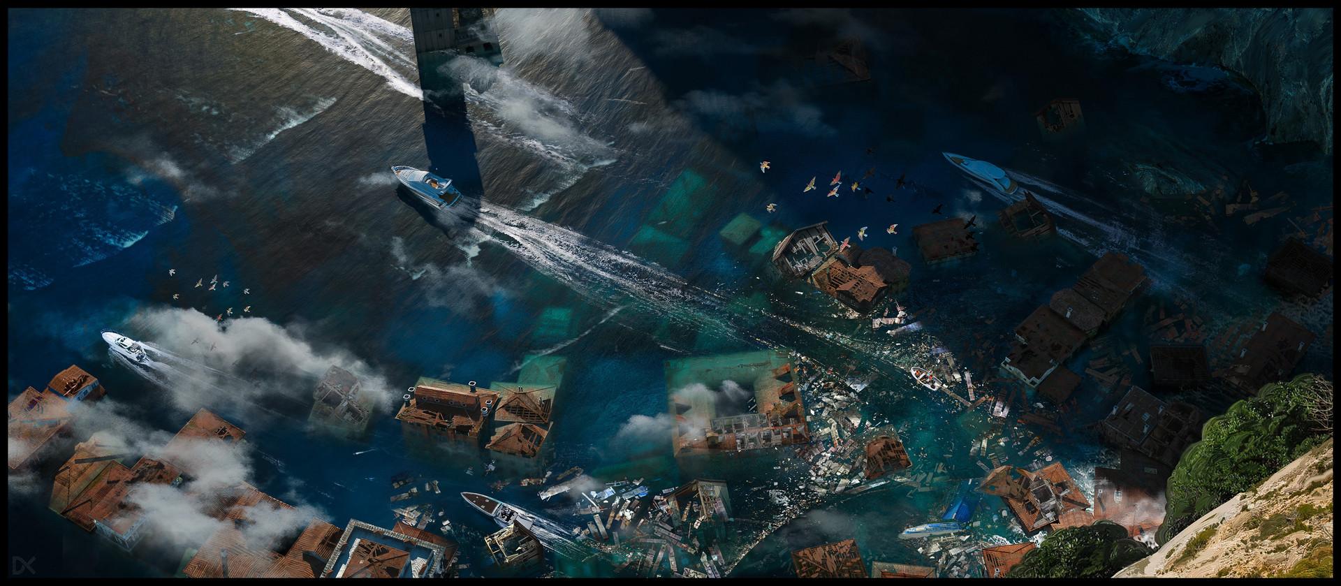 Darius kalinauskas enrironment concept art disaster tripic boats
