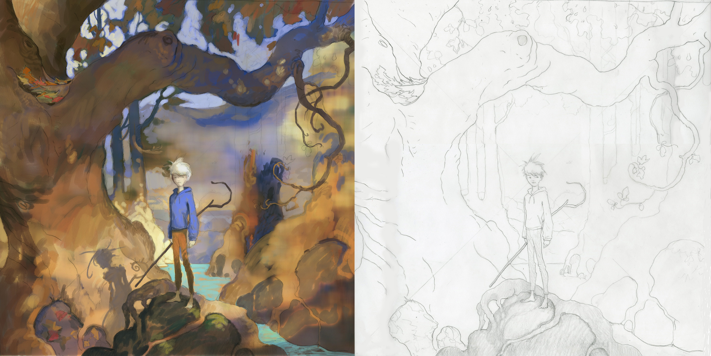 William's sketch on the right. My WIP paint job on the left.