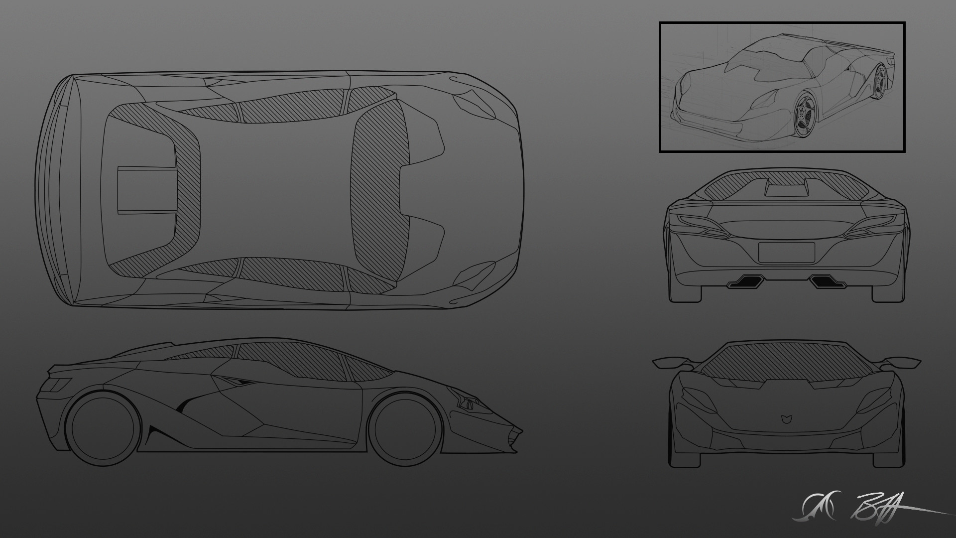 The model sheet created for the concept car in Photoshop and Sketchbook Pro