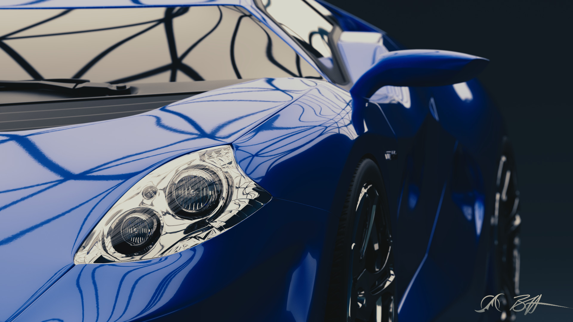 A close up version of the internal headlight details and car paint shaders, depth of field rendered natively in Cycles