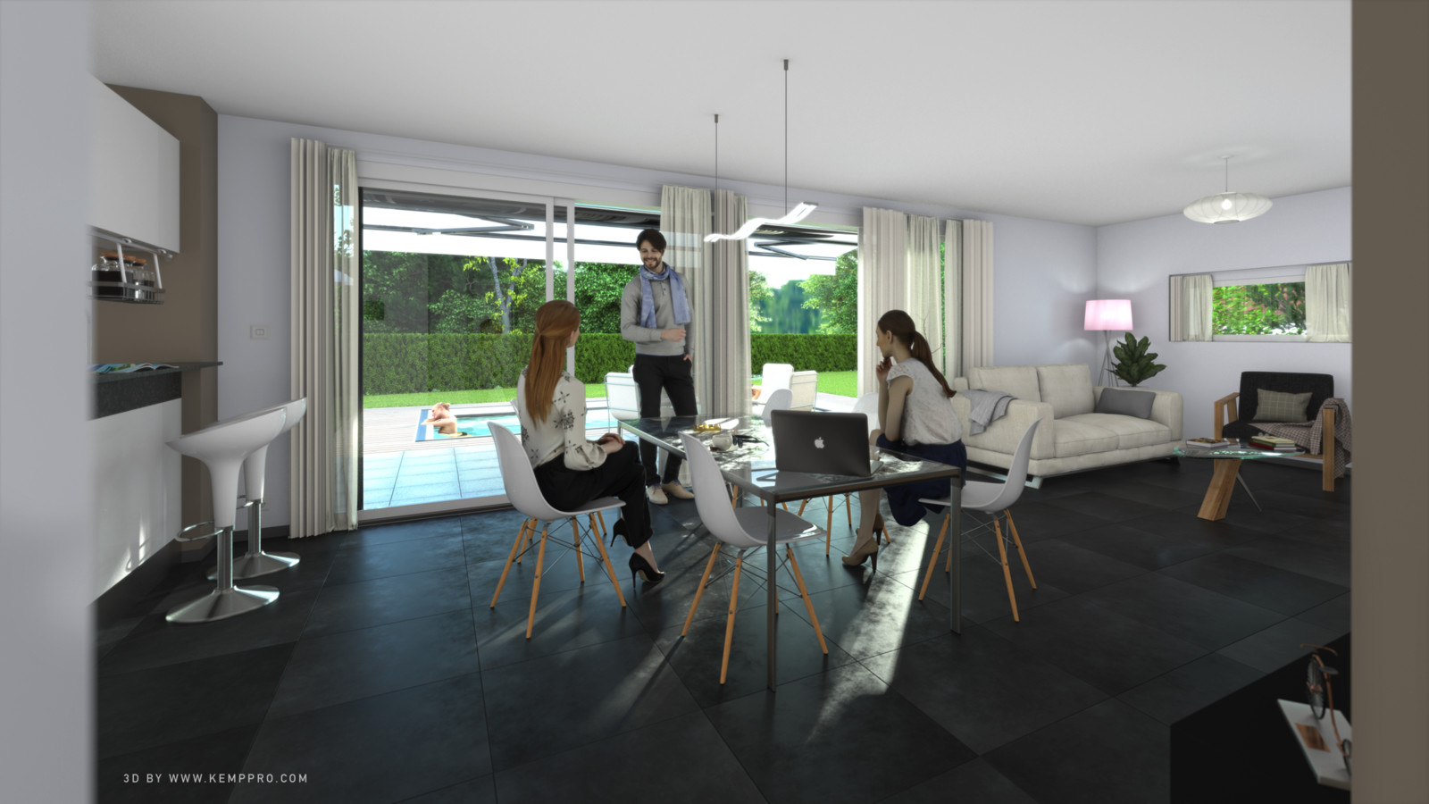 SketchUp + Thea Render.  House model test 2-Scene 13 With lights_KP. Presto AO HD 5333 × 3000.