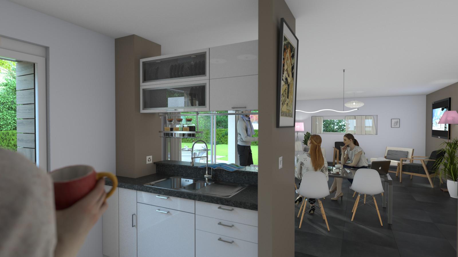 SketchUp + Thea Render  House model test 2-Scene 7 Kitchen_living Rm 2pt  Presto AO HD 1080