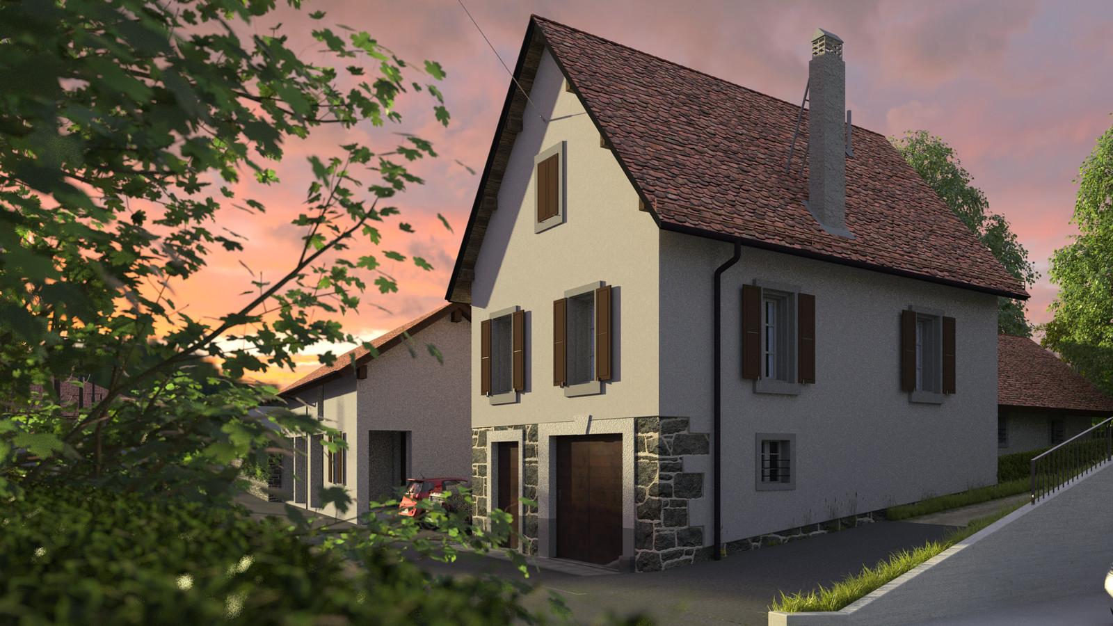 SketchUp + Thea Render  Little Swiss House Scene 28 174-hdri-skies 01 HD 1920 x 1080 Presto MC  HDR by HDRI-SKIES found here: http://hdri-skies.com/shop/hdri-sky-174/