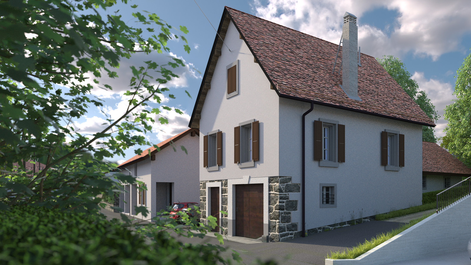 SketchUp + Thea Render  Little Swiss House Scene 28 162-hdri-skies 01 b HD 1920 x 1080 Presto MC  HDR by HDRI-SKIES found here: http://hdri-skies.com/shop/hdri-sky-162/