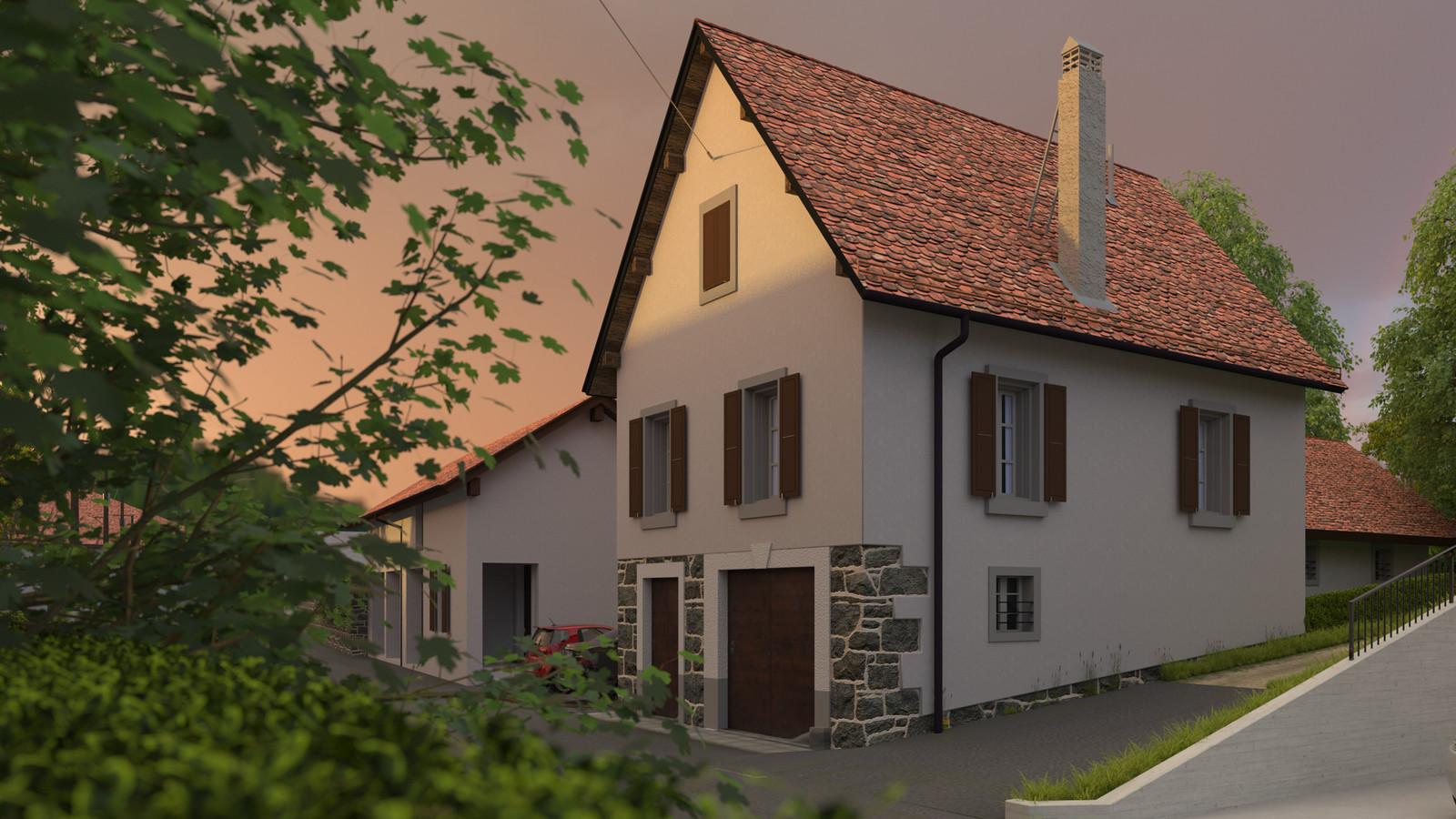 SketchUp + Thea Render  Little Swiss House Scene 28 250-hdri-skies 01b HD 1920 x 1080 Presto MC  HDR by HDRI-SKIES found here: http://hdri-skies.com/shop/hdri-sky-250/