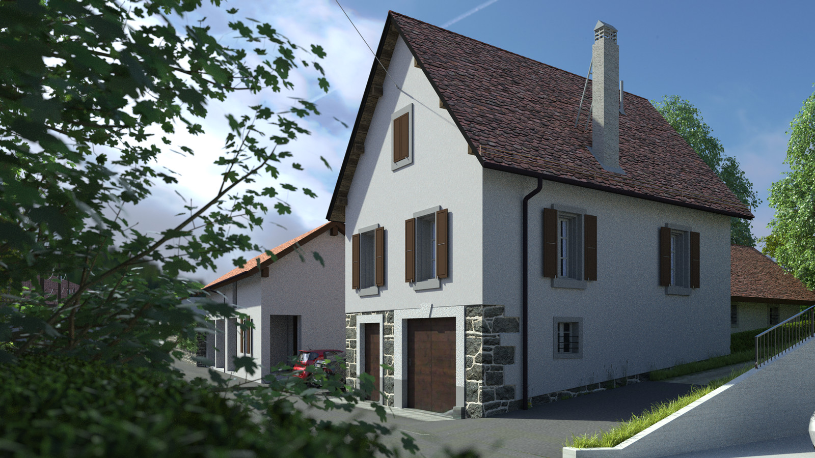 SketchUp + Thea Render  Little Swiss House Scene 28 Dosche skiesv2_25_XXL 01 HD 1920 x 1080 Presto MC