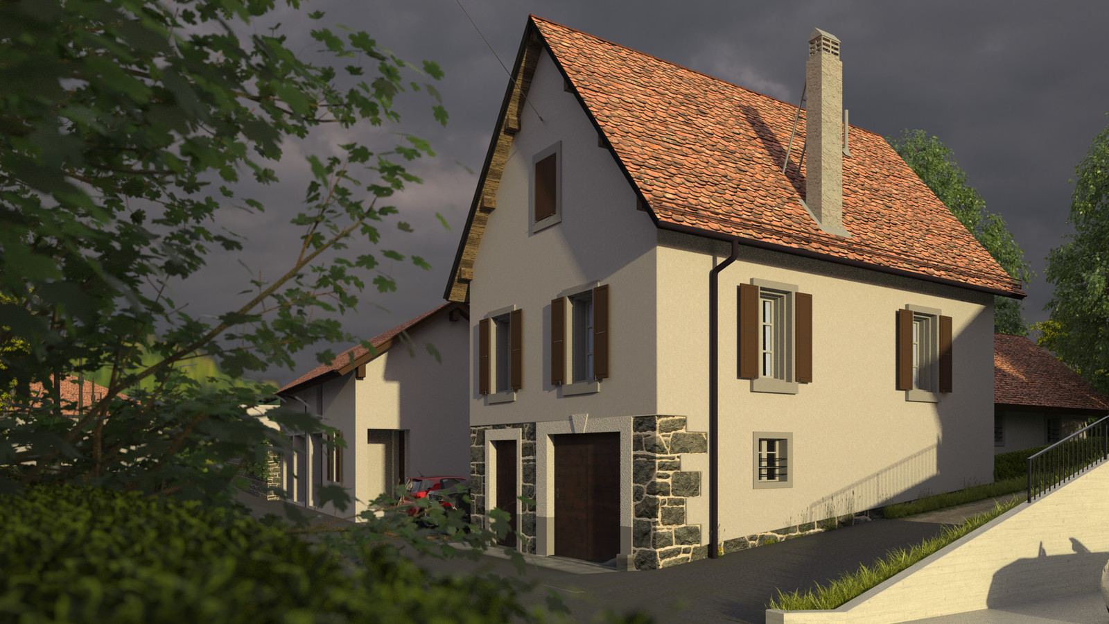 SketchUp + Thea Render  Little Swiss House Scene 28 0743 Cloudy Morning Sun 02 HD 1920 x 1080 Presto MC