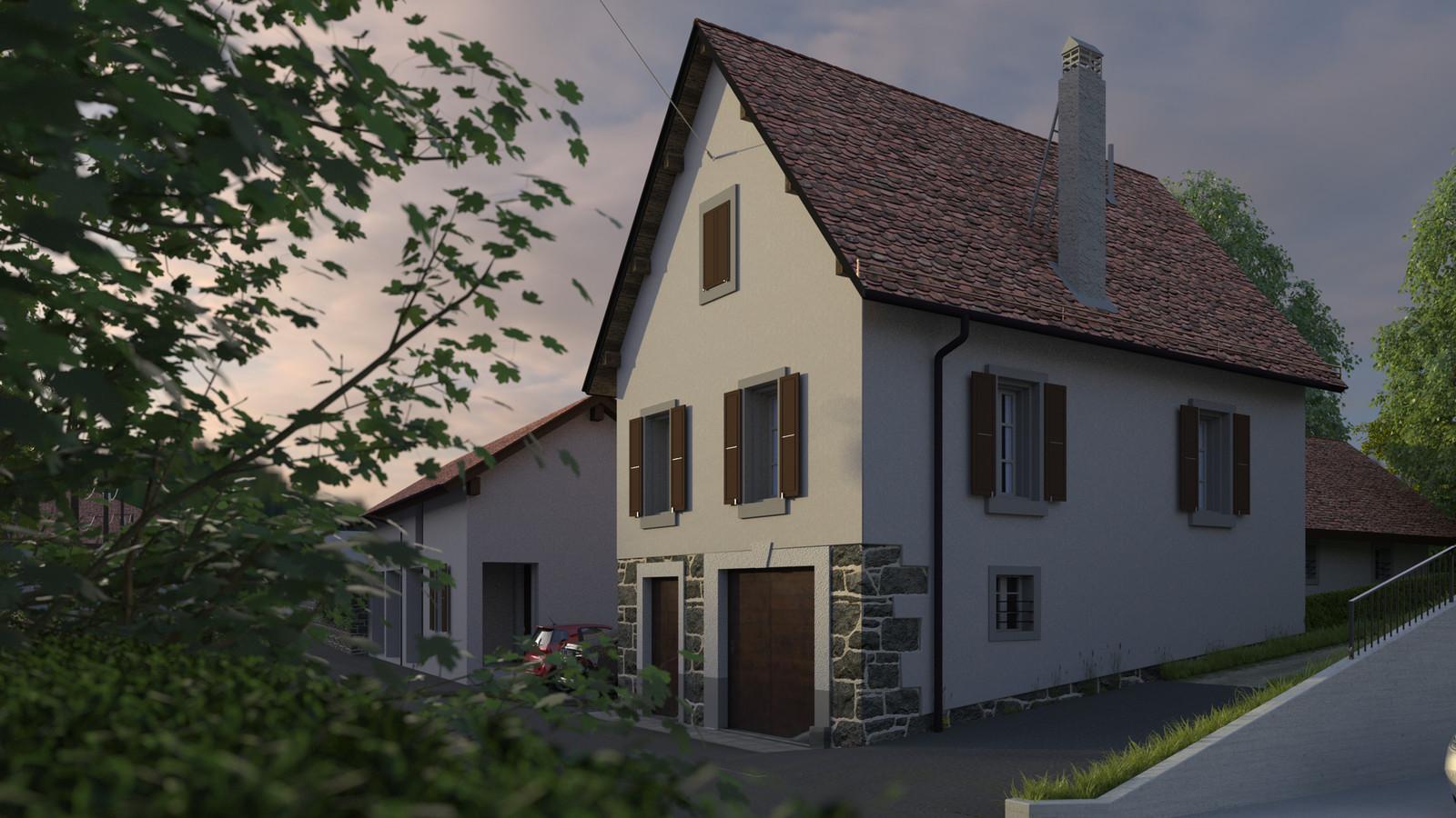 SketchUp + Thea Render  Little Swiss House Scene 28 0917 Dawn 02 HD 1920 x 1080 Presto MC