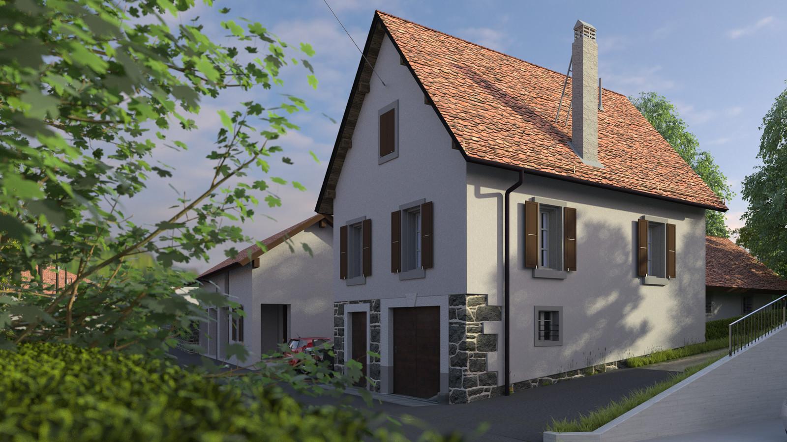 SketchUp + Thea Render  Little Swiss House Scene 28 0917 Dawn 03 HD 1920 x 1080 Presto MC