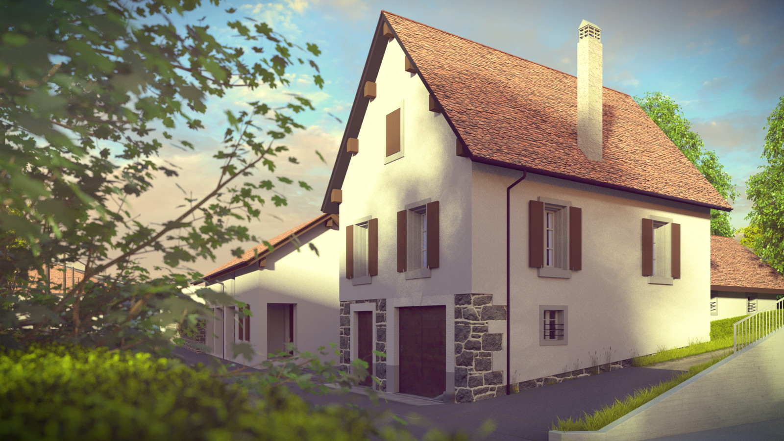 SketchUp + Thea Render  Little Swiss House 01b WIP test 02 Presto MC Vullierens complete 02 SUv2016-Scene 28b Lumina HD 1920 x 1080 Presto MC