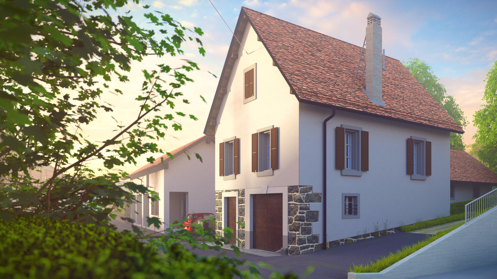 SketchUp + Thea Render  Little Swiss House à Vullierens (Day break) with rendered morning mist/fog  Vullierens complete 02 SUv2016-Scene 28A Lumina Sunday