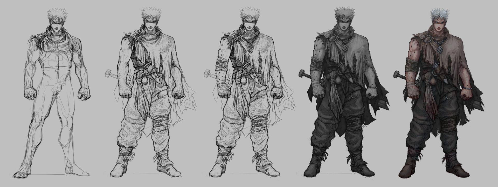 Character Concept Design Process : Guillem daudén character concept art warrior redone
