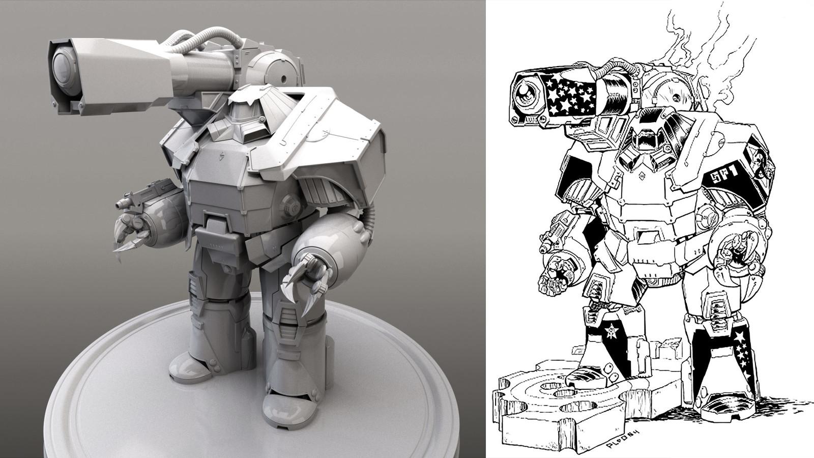 Side by side comparison. Final 3D Model > Original Concept art