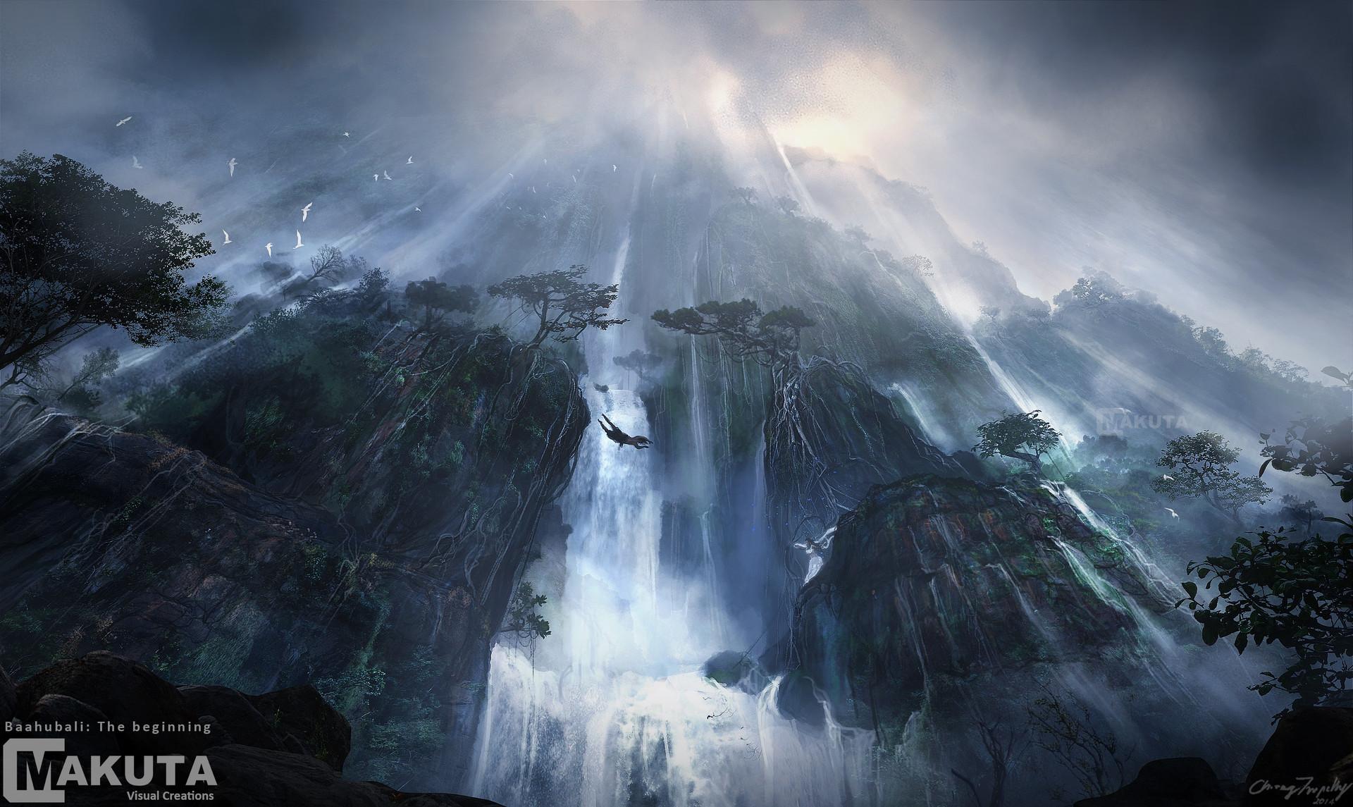 artstation waterfall jump preproduction concept art