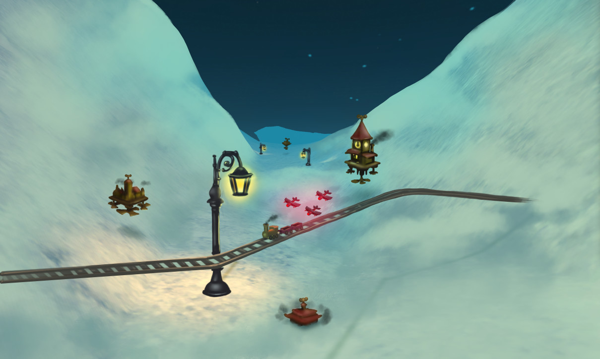 Paintover of Unity layout for possible game direction. Steampunk-esque flying buildings windup out of the snow, player lays out track to connect them