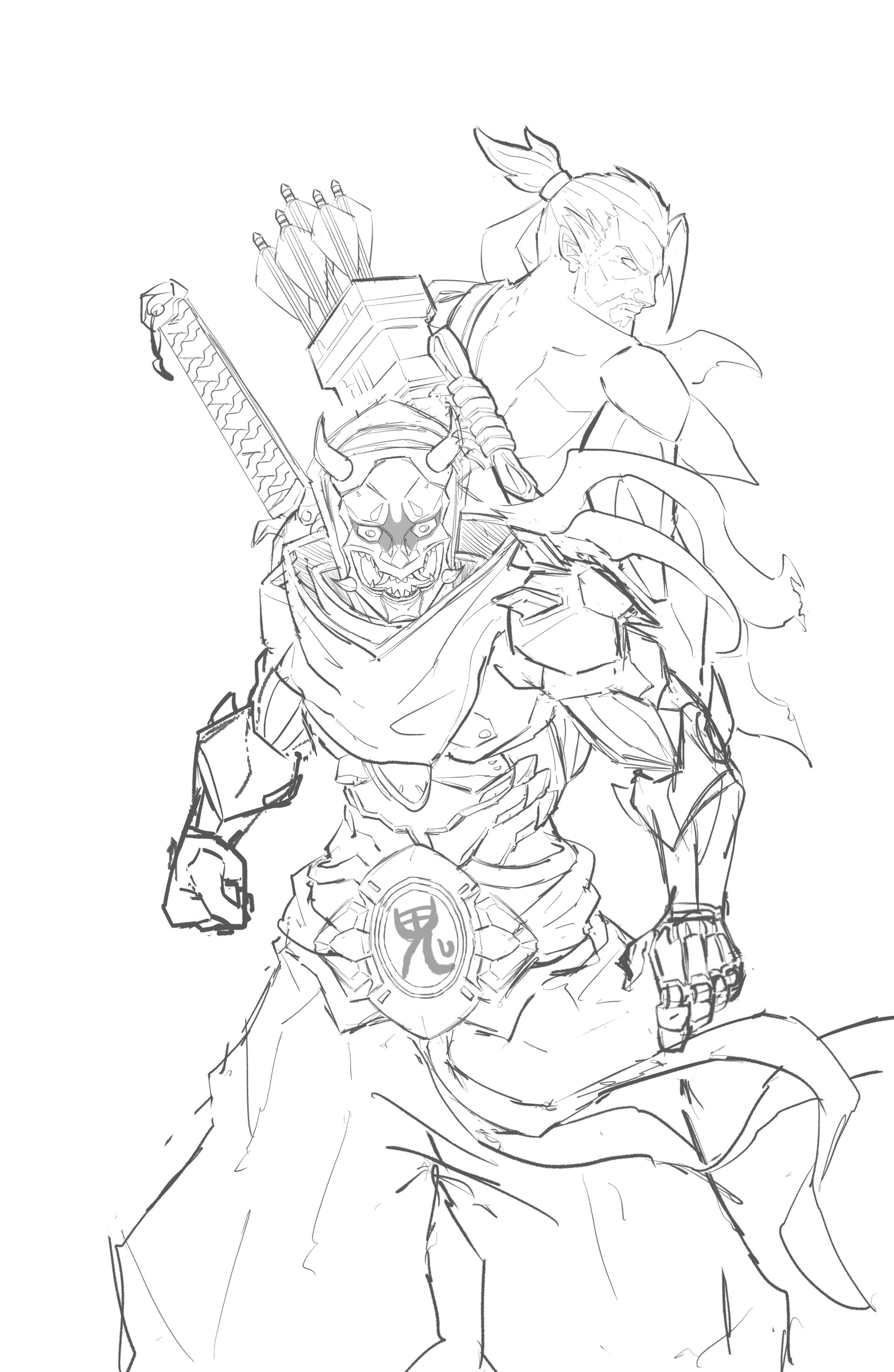 William puekker genji oni overwatch for Overwatch genji coloring pages