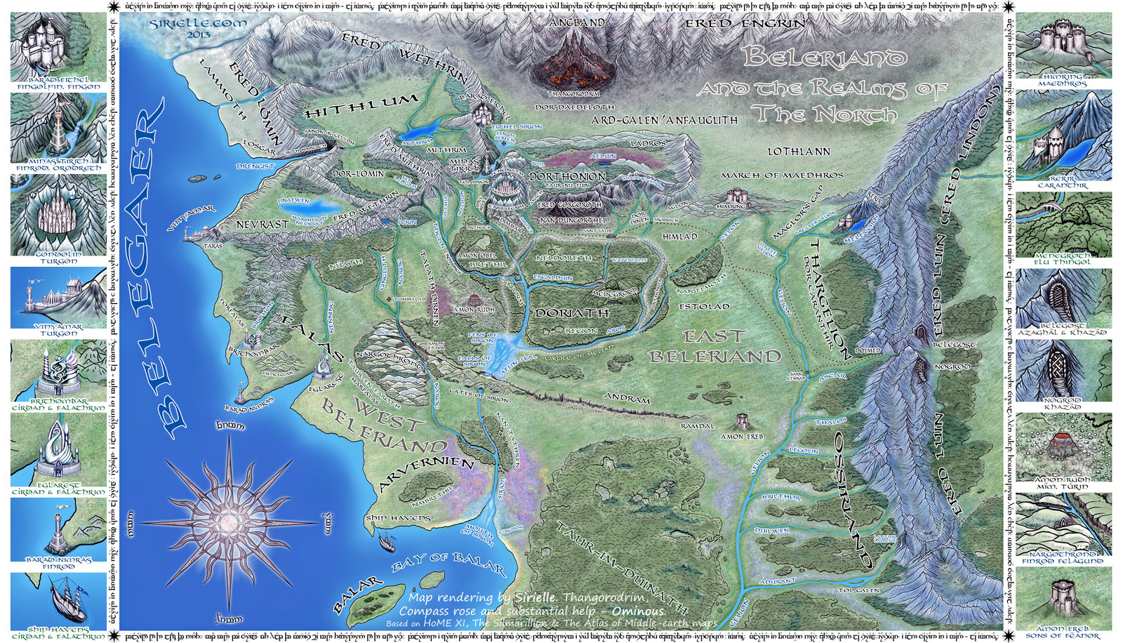 Beleriand and Realms of The North | Map rendering by myself, with Thangorodrim, compass rose and tengwar frame by Kuba Tymiński 'Ominous'.