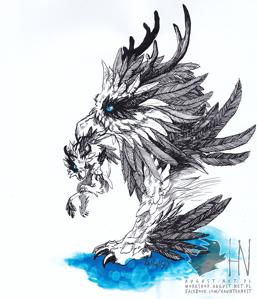 Day 5 - Feathermane with her kitten; Ink, blue marker