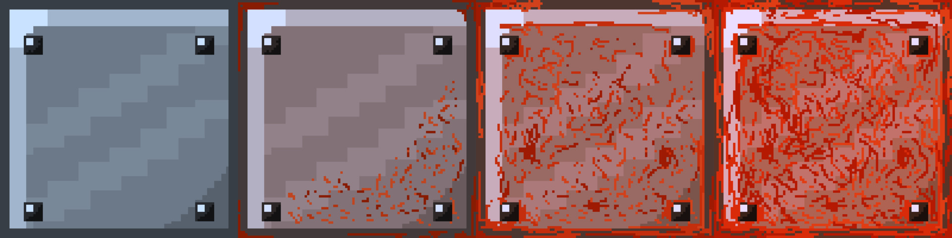 Metal tiles used for the randomly generated stages ranging from clean to totally rusted.