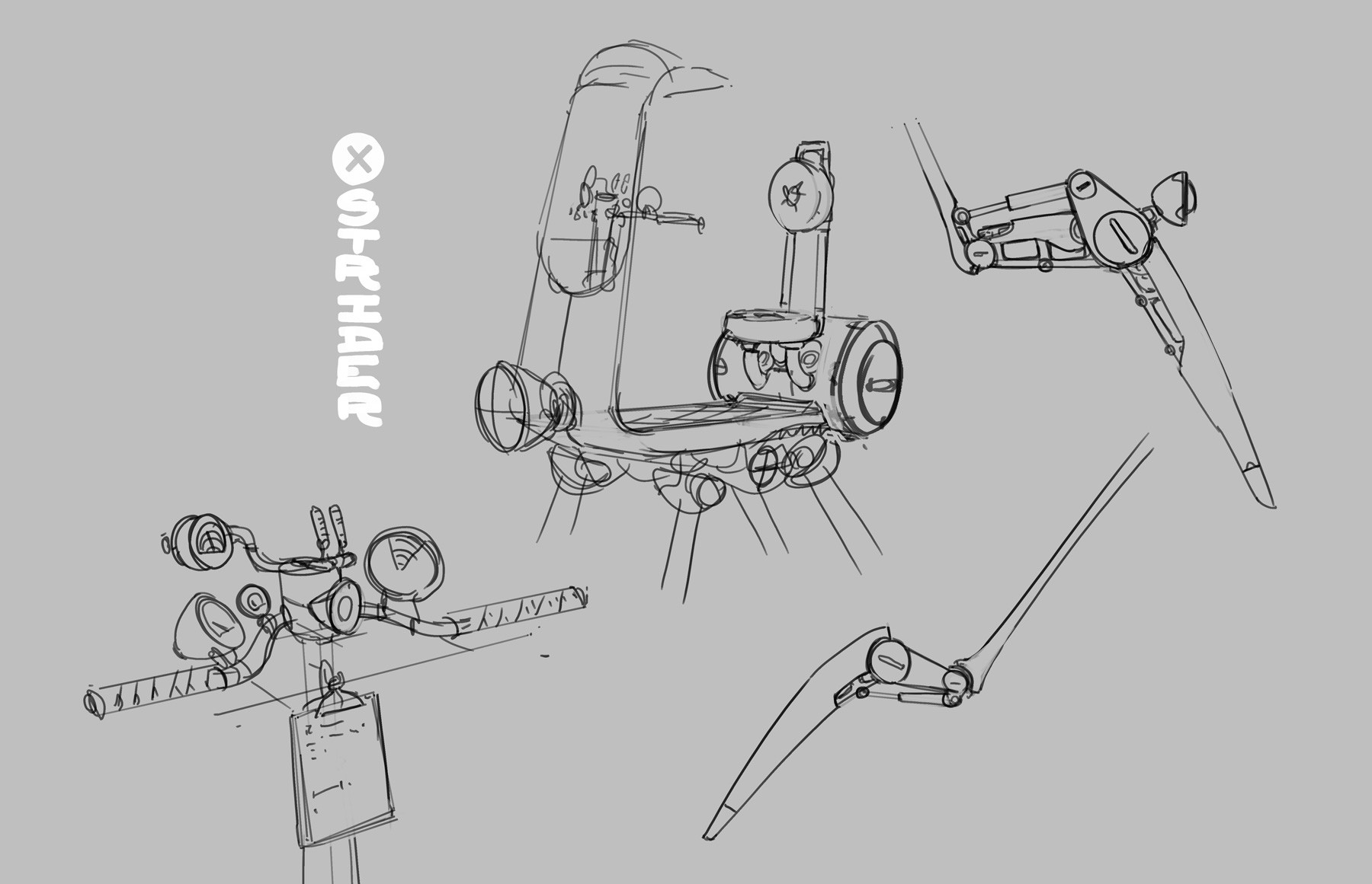 Samuel herb vespa mech detail sketches