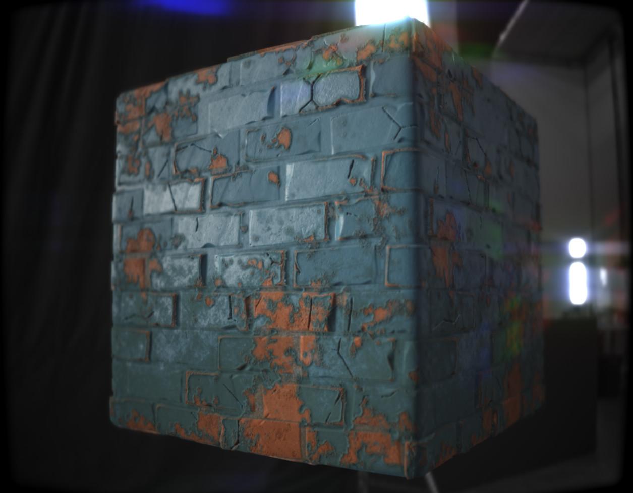Damaged Painted Brick Wall