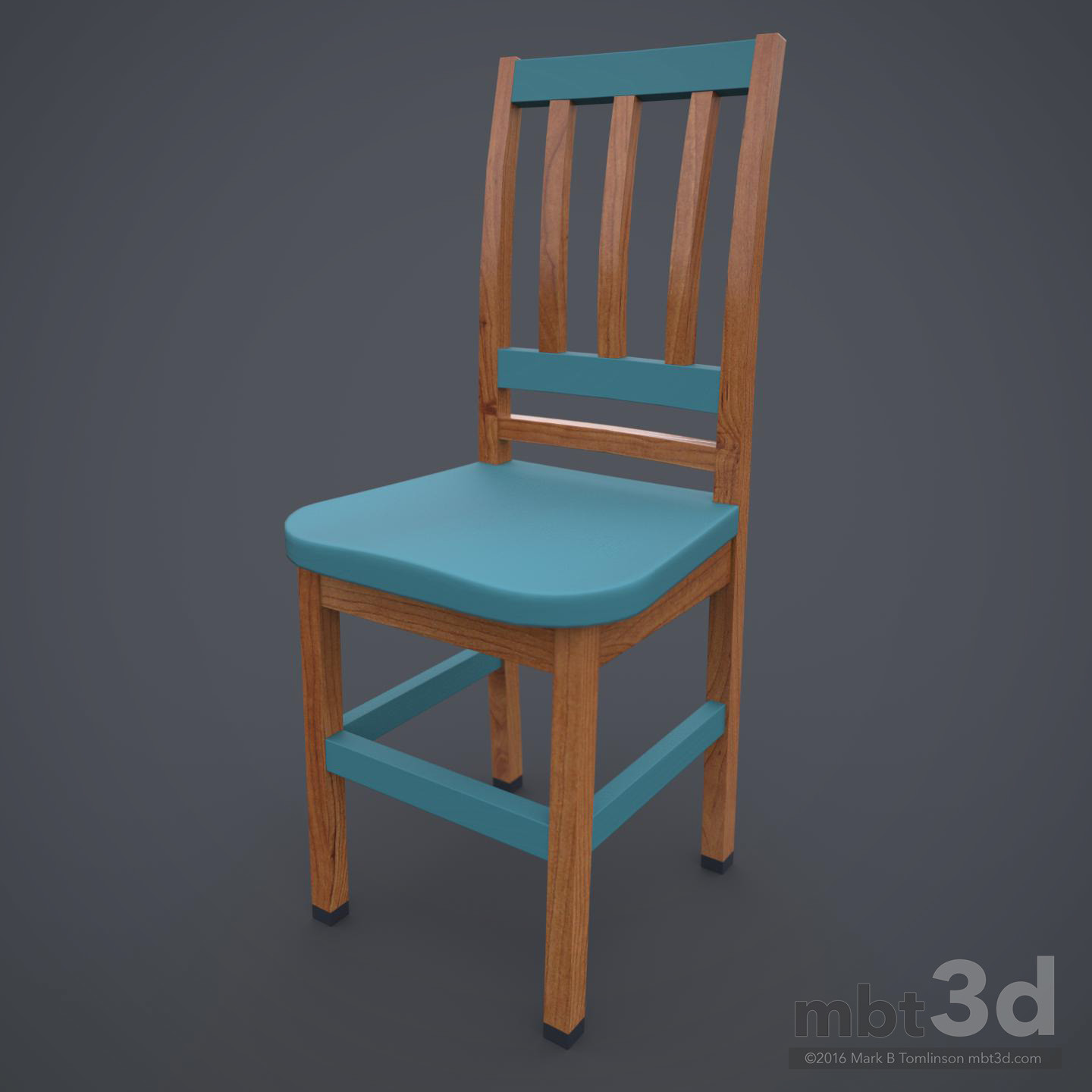 Wooden Chair Cyan