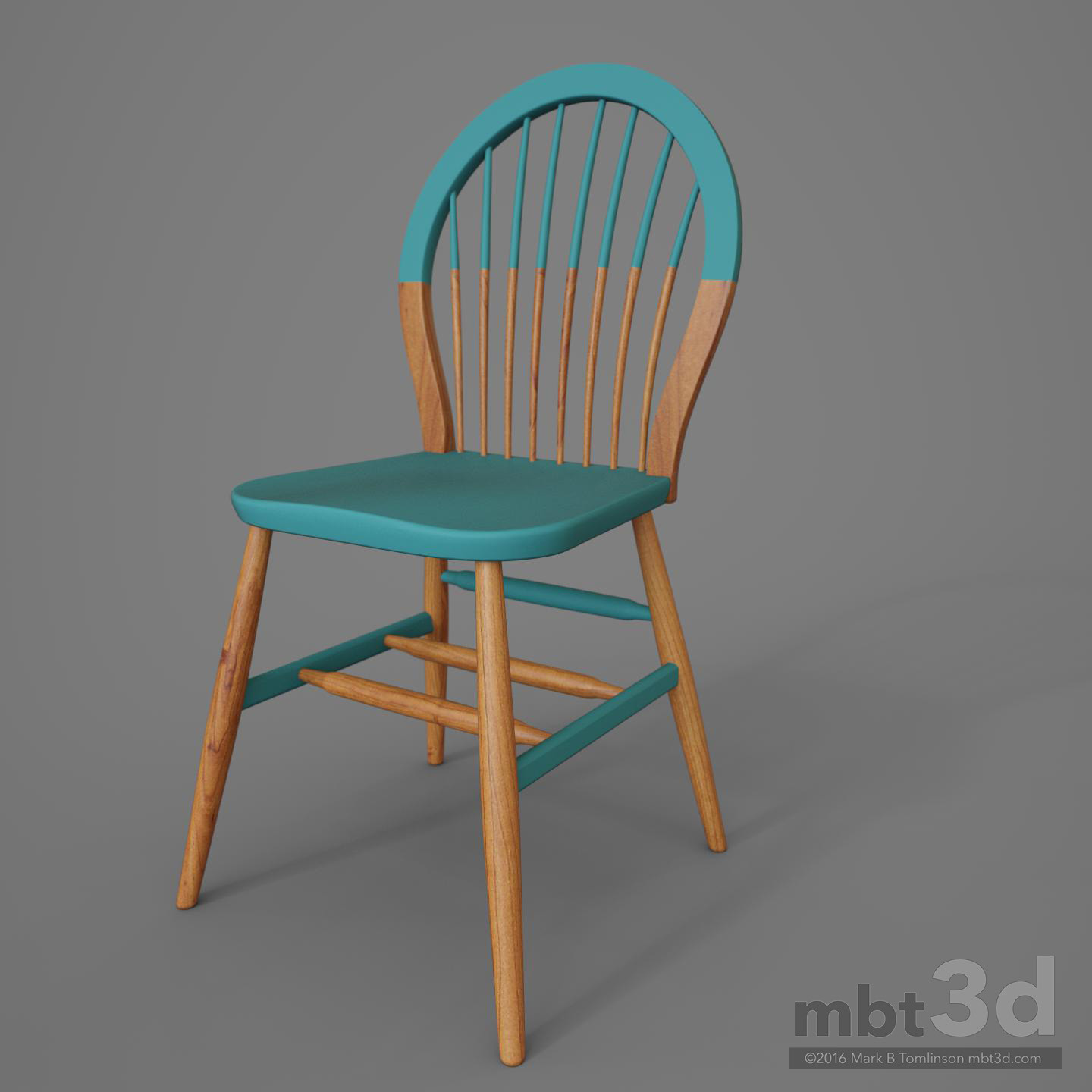 Round Back Wooden Chair Blue