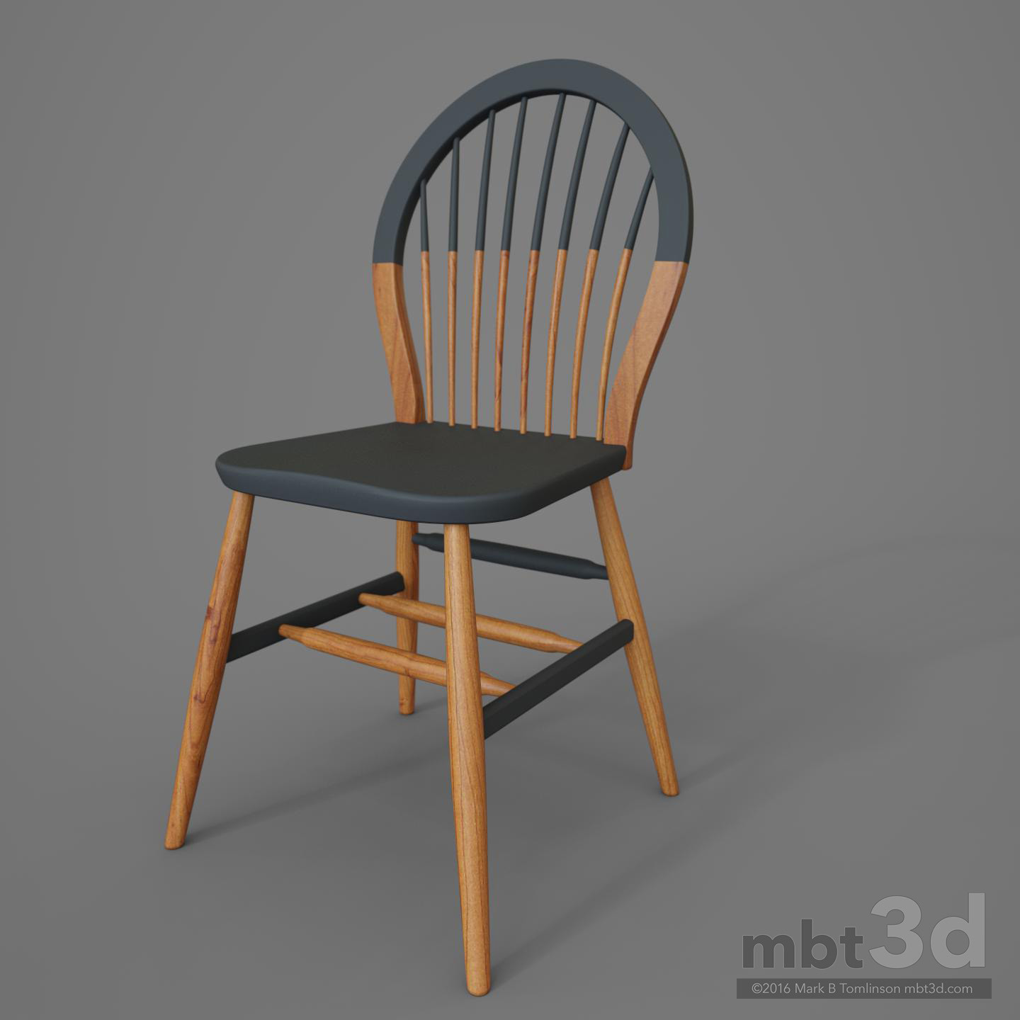 Round Back Wooden Chair Grey