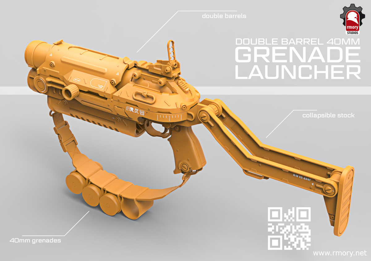 Double Barrel Grenade Launcher by rmory studios - preview