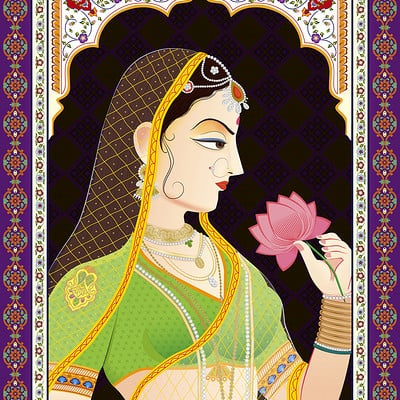 Rajesh sawant maharani indian miniature painting 01