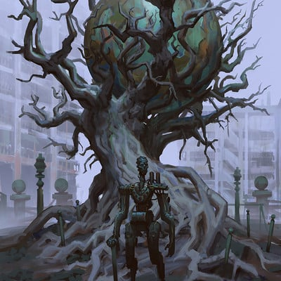 Edward delandre parc memorial tree robot artstation