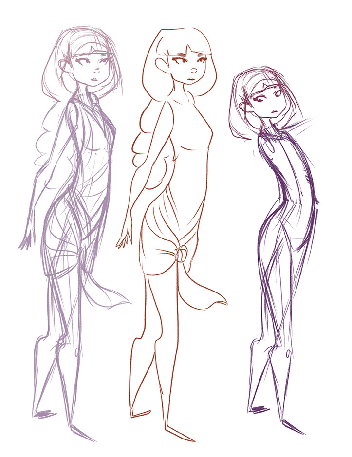 some character sketches before compositing layer