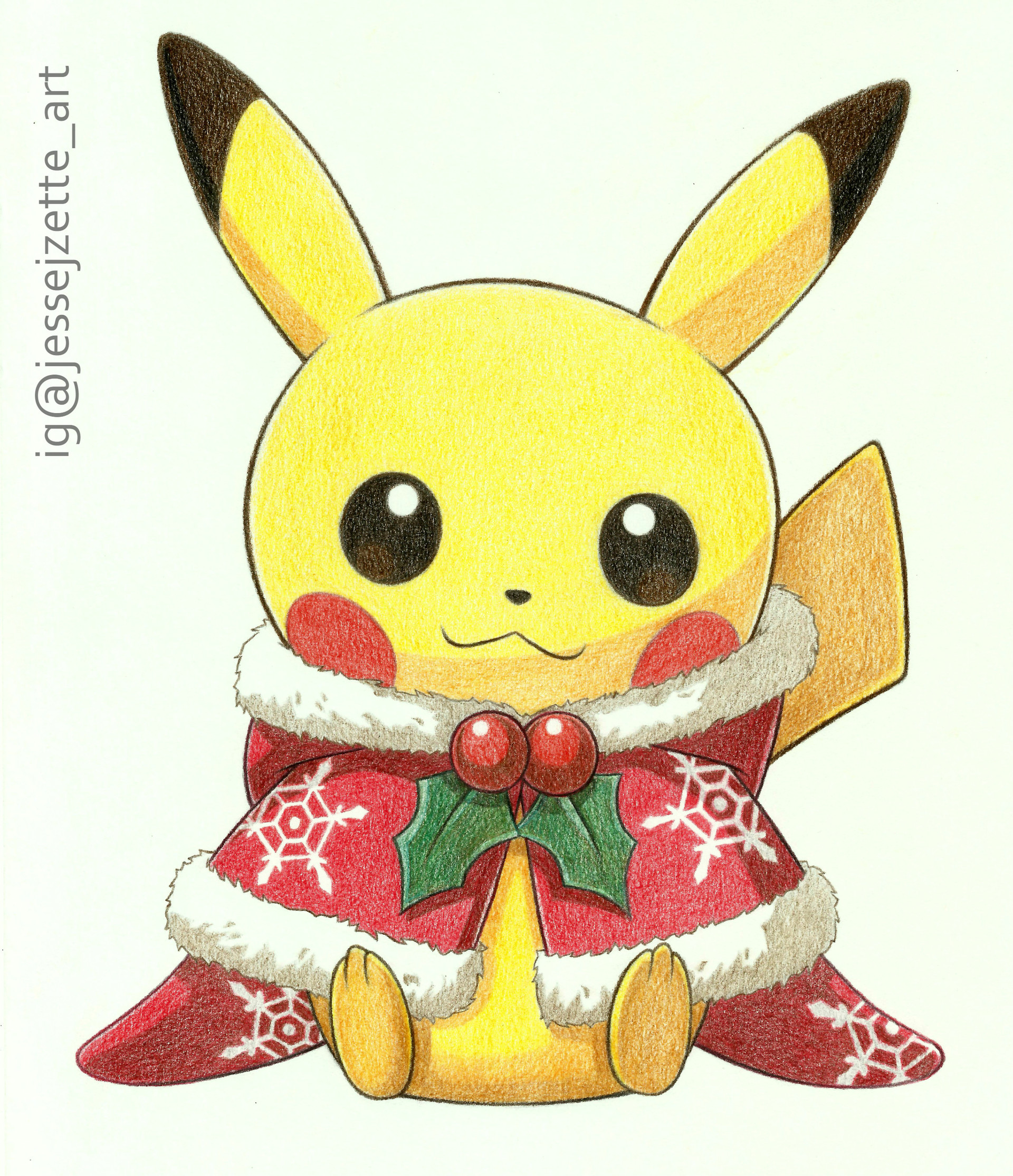 Christmas Pikachu.Artstation Pikachu Christmas 2016 Jesse Jzette Art
