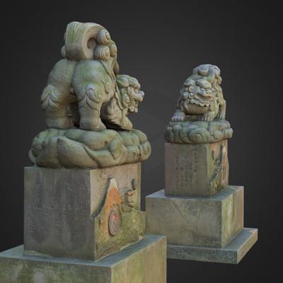 Vlx kuzmin two komainu 2 guardian lions shinagawa shrine